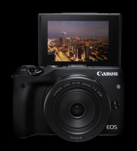 EOS M3 EF-M22STM FRT LCD up Beauty