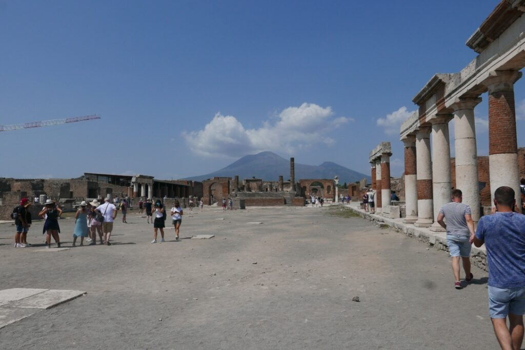 the main square with the volcano in the background.